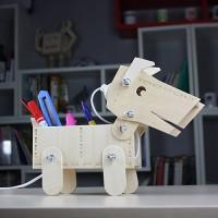 网易家居频道推荐DIY小狗狗木质台灯/储物盒
